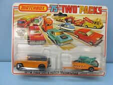 Matchbox Superfast Twin Pack TP-8 Field Car & Honda Cycle / 18A  Orange BLK HUBS