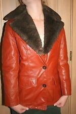 Vtg Schott NYC Leather Down fill Hipster jacket Womens 12 Shearling coat parka