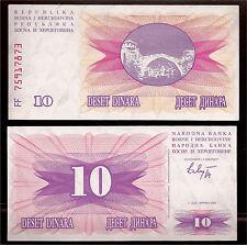 World Paper Money - Bosnia 10 Dinara 1992 @ Crisp Xf+ Cond