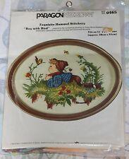 Vintage Paragon Embroidery Kit Sealed Hummel Boy With Bird Stitchery Needlepoint