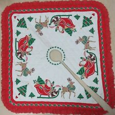 Handcrafted Christmas Tree Skirt Reversible Quilted Holiday Square Red Lace Trim