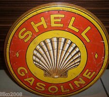 "SHELL GASOLINE (1920'S LOGO),ROUND VINTAGE-STYLE 12"" METAL WALL SIGN OIL/PETROL"