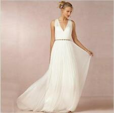 Simple V Neck Chiffon Wedding Dress White Ivory Beach Bridal Gown Custom 6 8 10+