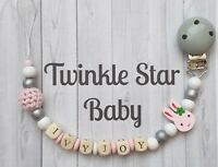 Personalised Wooden Dummy Clip Pink Rabbit Grey Pacifier White Baby Girl Crochet
