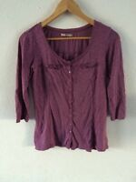 TU Top T Shirt Blouse Top 3/4 Sleeve Button Detail In Size 8  R4520