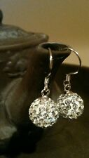 925 Sterling Silver Drop Earring, with Clay Pave, Round, platinum plated ~US