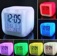 New Cube 7 Colors LED Changing Digital Alarm Clock wake up light
