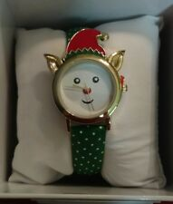 MIXIT Green band polka dot gold tone Elf face Holiday Christmas Watch JCpennys