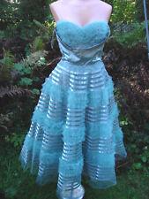 Vintage 50s Dress Tulle Full Skirt Satin Strapless Xs Party Crinoline Bolero 2pc