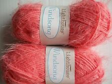 Lighthouse Windsong fuzzy fashion yarn, Coral, lot of 2 (92 yds each)