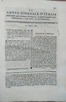 1784 NUOVO GIORNALE D'ITALIA: GASTRONOMIA DIGESTIONE MASTICAZIONE DI SPALLANZANI