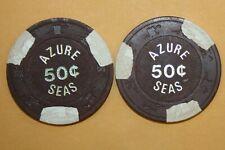 New listing 2 Vintage Azure Sea Casino 50 Cent Chip