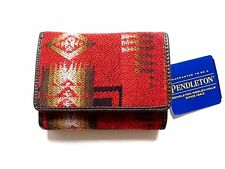 New Pendleton Red Southwestern Print Wool w/ Leather Trim Small Trifold Wallet