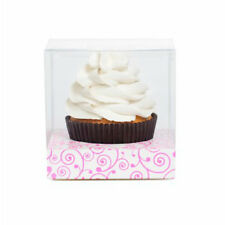 CLEAR SINGLE CUPCAKE BOX WITH White & Pink FILIGREE  x 6 Sets