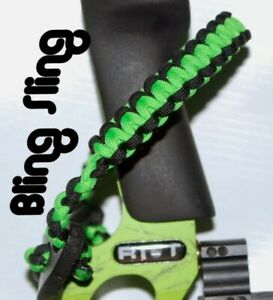Archery Neon green black Bow wrist strap FREE SHIPPING Bling Sling