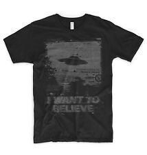 I Want To Believe T Shirt Alien UFO Area 51 Roswell X Files Space Ship Greys