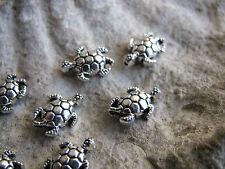 10 Metallperlen Schildkröte, 1,2 cm, silberfarben, Perlen basteln, maritim