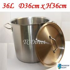 36L Commercial Stainless Steel Stock Pot Saucepan with Lid (D360xH360)