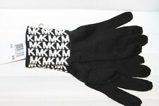 Michael Kors Knit Gloves MK Signature Logo Print Black Off White MSRP $42 NEW