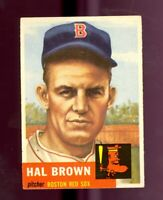1953 Topps Baseball #184 Hal Brown Rookie Card Boston Red Sox EX no creases