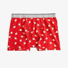 J. Crew Men's Stretch Boxer Briefs in Cupid Print Underwear Red NEW L