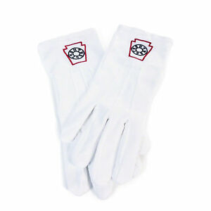 Masonic Freemasons Mark Degree White 100% Cotton lodge Gloves