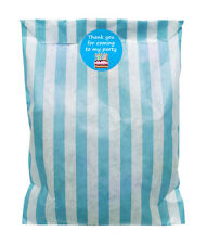 Blue & white paper party bags & 30mm blue cake stickers - 24 of each in pack