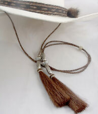 Chin strap stampede string Horsehair Silver beads Brown horsehair cotter pin