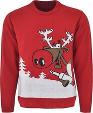Maan Store Rudolph Jumper Red Christmas Jumper Xmas Knitted Top Long Sleeves