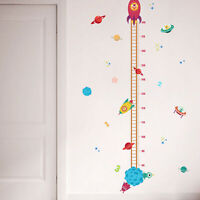 Kids Baby Planets Space Rocket Height Chart Measure Home Wall Sticker Room Decor