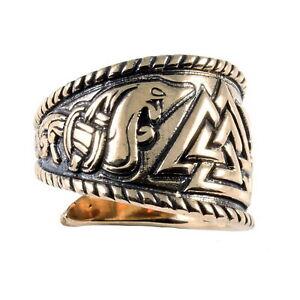 Wikingerring klein Valknut aus Bronze Durchmesser 16-19mm Wikinger Drachenmotiv