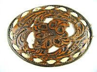 Nocona Leather Floral Gold Belt Buckle