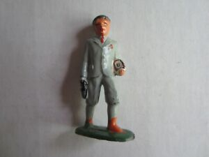 Vintage Lead 2 1/2 Inch Man Wearing a Gray Suit