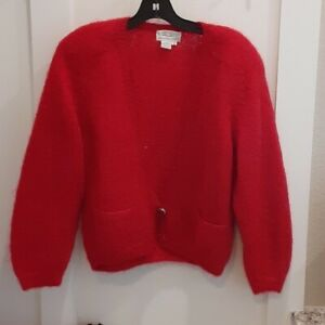 Vintage 90s Mohair Red Cardigan Sweater