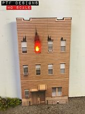 "HO Scale ""APARTMENT ON FIRE"" 🔥w/LED, House Building Flat / Front 3D Background"