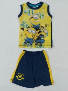 Childrens Minions Despicable Me Kids Sleeveless Pyjamas Set PJ Top/Short +Sizes