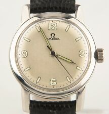 Vintage Omega Ω Stainless Steel Men's Hand-Winding Watch w/ Leather Strap c 1947