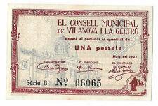 ESPAÑA LOCAL: 1 PESETA VILANOVA (CATALUÑA). AÑO 1937. EBC+. SERIE B.ENVIO GRATIS