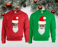 Personalised Santa Claus Christmas Jumper, Merry Christmas Day Kids & Adults Top