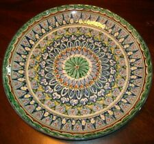 LARGE COLORFUL FLORAL LIKE DESIGN POTTERY DISH / PLATE - SIGNED