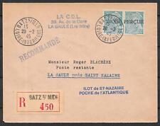 St.Nazaire covers 1945 Taxe Percu on 50c Pair R-cover Batz sur Mer
