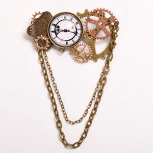 Vintage Steampunk Gear Chain Clock Brooch Victorian Costume Breastpin Lapel Pin