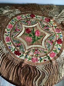Antique Hungarian Heavily Embroidered Matyo Tablecloth