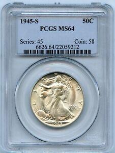 Silver 1945-S Walking Liberty 50c Half Dollar   PCGS MS64