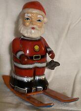 Vintage Tin Santa On Skis Wind Up Toy Made in Japan