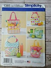 Simplicity 1385 Art Caddies Lunch Bag Snack Bag Gingercake Craft Bags UC FF