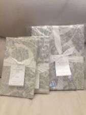 3pc POTTERY BARN Porcelain Blue Samantha Damask KING Duvet Cover/2 Euro Shams🎁