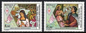 Monaco 1643-1644,MNH.Red Cross.The Life of St Devote,Patron Saint of Monaco,1988
