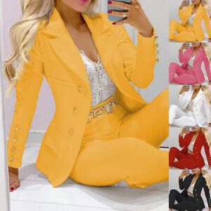 Womens 2Pcs Formal Blazer Suit Set Office Ladies Jacket Coat+Trousers Pants Work
