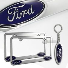 2x Ford Logo 3D Die Cast Chrome Metal License Plate Frame with Keychain Key Tag